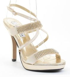 Light Gold Satin Jeweled Strappy Anklet Platform Sandal Formal Heels