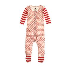Baby footed one-piece in snowflake and stripe