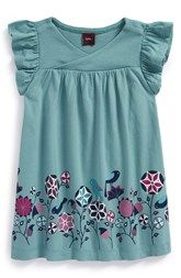 Tea Collection 'Kantha Birds' Cotton Wrap Dress (Baby Girls)