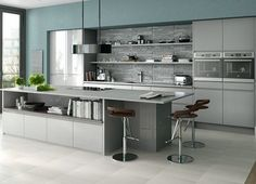 Sheraton In-Line Gloss Grey kitchen from omegaplc.co.uk. Greys with sludgy slate blue and different textures so interesting mix