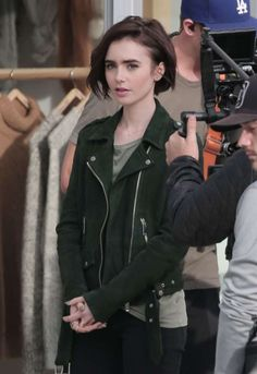 Lily Collins on the set of a 'Lancome' ad in LA