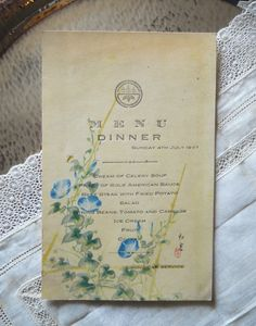 I love the combination of Chinese simplicity with the bright blue floral design. 1937 Dining Car Menu from AutreChosesVintage on Etsy.