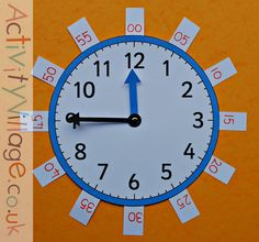 The teaching clock from Activity Village with tags for the 5 minute intervals added Printable Activities For Kids, Time Activities, Teaching Clock, Activity Village, Clock Tattoo Design, Clock For Kids, Study Skills, Telling Time, Math For Kids