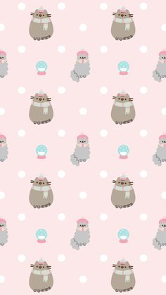 pusheen the cat iphone wallpaper snow winter christmas holidays Xmas Wallpaper, Christmas Phone Wallpaper, Winter Wallpaper, Kawaii Wallpaper, Wallpaper Iphone Cute, Cellphone Wallpaper, Pattern Wallpaper, Cute Wallpapers, Iphone Wallpapers