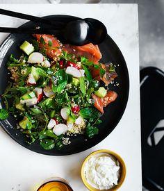 Cucumber, radish and quinoa salad with ocean trout and yoghurt recipe :: Gourmet Traveller