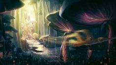 Mushroom City by Bakenius on DeviantArt Fantasy Places, Fantasy Art, Fairy Land, Fairy Tales, Mystical Pictures, Another World, Story Inspiration, Faeries, Gnomes