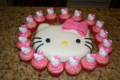 The Hello Kitty cake and cupcake I made for my Lily.