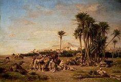 Algérie - Peintre français Eugène Fromentin (1820 - 1876) , Huile sur toile , Titre : REPOS D'UNE CARAVANE DANS LE SAHARA À EL-AGHOUAT