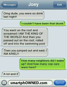 U were so drunk last night! – – Autocorrect Fails and Funny Text Messages – SmartphOWNED Omg dude! U were so drunk last night! – – Autocorrect Fails and Funny Text Messages – SmartphOWNED Funny Drunk Texts, Funny Text Memes, Text Jokes, Funny Texts Crush, Drunk Humor, Epic Texts, Funny Quotes, Humor Texts, Funny Fails