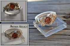 Silver and Gold Etched Spessartite Garnet ring wire wrapped jewelry