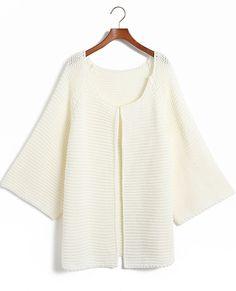 Beige Long Sleeve Cardigan Loose Kint Sweater - Sheinside.com