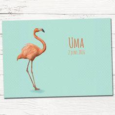 Geboortekaartje met flamingo | ontwerp op maat | dieren | scandinavisch | indie | patroon