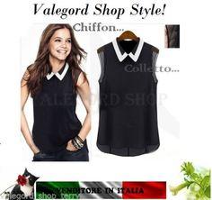Camicetta-CHIFFON-COLLETTO-bianco-nero-S-M-L-XL-shirt-top-moda-maglietta-donna