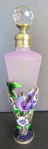 PURPLE GLASS ENAMELED BIRD & FLOWERS PERFUME BOTTLE W/CRYSTAL SCREW IN STOPPER