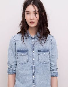 Get the most casual look with blouses and shirts for women at PULL&BEAR. Checked or denim shirts and printed blouses. Shirt Blouses, Shirts, Blue Blouse, Printed Blouse, Denim Shirt, Blue Tops, Chambray, Casual Looks, Polyvore