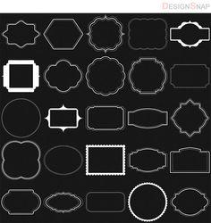 White Digital Frames, Digital Frames Clip Art, Classic frames, Scrapbooking Frames, Basic Frames, Digital download, Clipart Frames  - 1 Zip folder