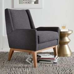 Frankie Chair | West Elm sale $424 / $500  27.5 w x 29.5 d x 32.5 h tweed asphalt fab.