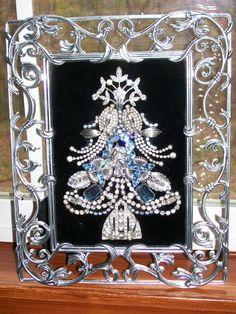Vintage Jewelry Crafts Vintage Rhinestone Jewelry Christmas Tree Art By Tami R Dean Jeweled Christmas Trees, Christmas Tree Art, Christmas Jewelry, Christmas Buttons, Xmas Trees, Christmas Ornaments, Costume Jewelry Crafts, Vintage Jewelry Crafts, Recycled Jewelry