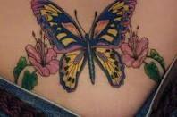 Butterfly Lower Back Tattoos For Women..