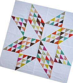 Chicopee Giant Star Quilt, red pepper quilts - for Bonnie Hunter fans: a way to use up your bonus triangles.