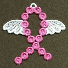 FSL Pink Ribbon 3, 4 - 4x4 | FSL - Freestanding Lace | Machine Embroidery Designs | SWAKembroidery.com Ace Points Embroidery