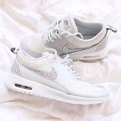 Nike Roshe white running shoes with crystals These are gorgeous! I must have today!