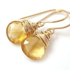 wrapped citrine handmade earrings bt aubepine on ArtFire  43.50