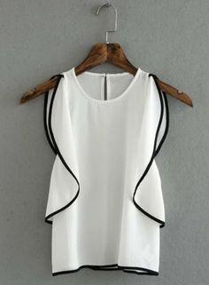 Women's Fashion Summer Sleeveless Flounce trim Pullover Blouse - AZBRO.com