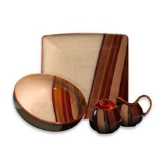 Sango® Avanti 5-Piece Completer Set in Brown - would this go with the dishes? Check colors. BedBathandBeyond.com