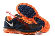 Mens Nike Air Max 2012 Light Midnight Metallic Silver Total Orange Shoes