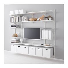 An affordable, customizable option. You could adjust the shelving height based upon where your tv is already mounted and around artwork, etc.