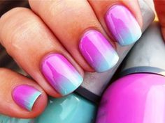 Pink and blue gradiant ombre nails.