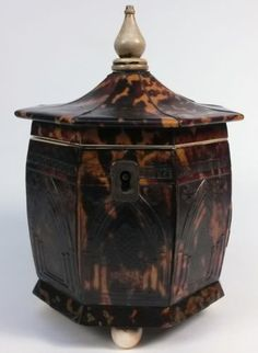 c-1800-1830-Neo-Gothic-Pressed-Faux-Tortoise-Shell-Tea-Caddy-Box-Container