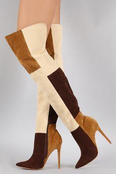 Shoe Republic LA Suede Patchwork Stiletto Boots | UrbanOG