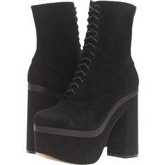 Shellys London Balham (Black) Women's Boots ($86) ❤ liked on Polyvore featuring shoes, boots, ankle boots, black, black lace up boots, suede ankle boots, faux-suede boots, black block heel boots and lace up platform boots