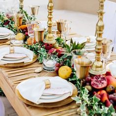 Oranges, crimsons, greens and lilacs give a vibrant touch to this superb table setting by @encre_dor