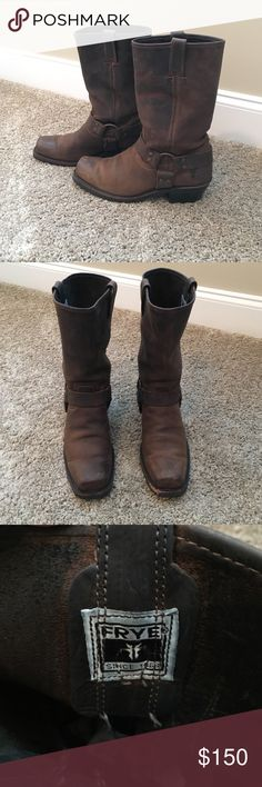 SALE ENDS TONIGHT✨ FRYE Brown Harness Boots Size 9 Great pair of gently used FRYE boots! These boots are in very good condition other than minor scuffing on the left toe. Frye Shoes Combat & Moto Boots