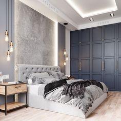 Интерьер спальни в современном стиле. В данном проекте в отделке стен используем мягкие и декоративные панели с подсветкой.