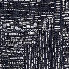 Sashiko Stitch Fabric in Navy