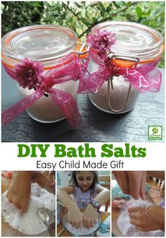Children will love creating their own fragrant bath salts to give as gifts. A fun sensory activity for homeschool, early childhood educators and teachers that is perfect for Mother's Day! Use this easy recipe..