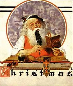 Norman Rockwell-Santa and Expense Book (1920) or Santa's Children