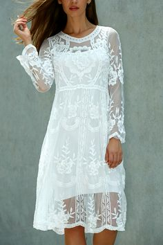 $14.59 Long Sleeve Crochet Knee Length Lace Dress