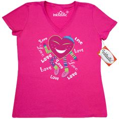 Valentines Day Women's V-Neck T-Shirt has funny dancing heart surrounded by lots of love for a fun holiday office party or childs celebration. $16.99 www.homewiseshopperkids.com