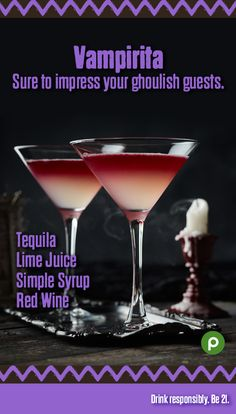Does it get your heart going a little faster just to look at the color red? Then there will be plenty to get excited about when you fix your eyes on the bold shade of the Vampirita's red wine floater. It tastes as decadent as it looks. Go ahead—give in to the excitement. Visit us for this and more great cocktail recipes.