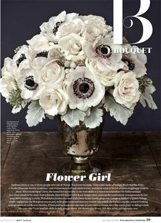 White bouquet with anemones.