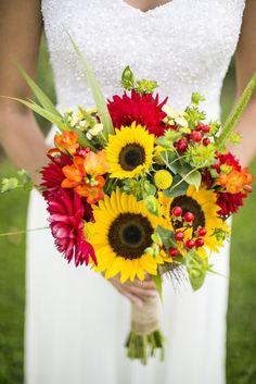 Bright Gerbera Daisy and Sunflower Bouquet / http://www.himisspuff.com/country-sunflower-wedding-ideas/7/