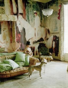 Tim Walker: Blow-Up for  Magazine, 2011. Alfred de Dreux's Portrait of Monsieur and Madame Mosselman and Their Two Daughters, 1848 on the walls of Glemham Hall