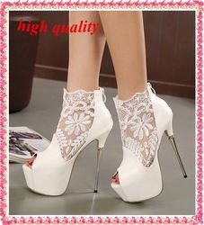 lace summer boots party fashion shoes woman sexy open toe high heels platform pumps women high heels white black pumps Y543