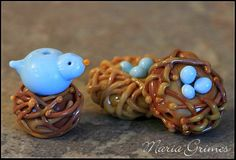 Lampwork Nest with 3eggs RIGHT by gardenpathbeads on Etsy, $10.00