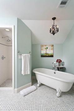 Serene Watery Blue with white clawfoot tub.  Black & White mosaic bath & shower floor.  White shower w/ black liner detail.